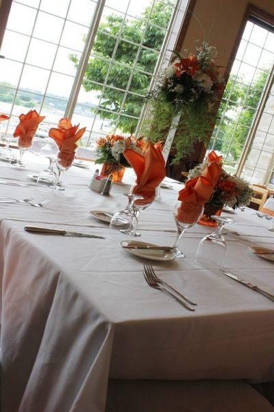 Watre views from wedding reception at Stone Harbor Resort in Sturgeon Bay, WI