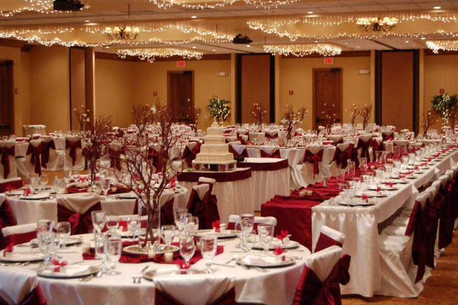Winter wedding reception in ballroom at the Stone Harbor Resort