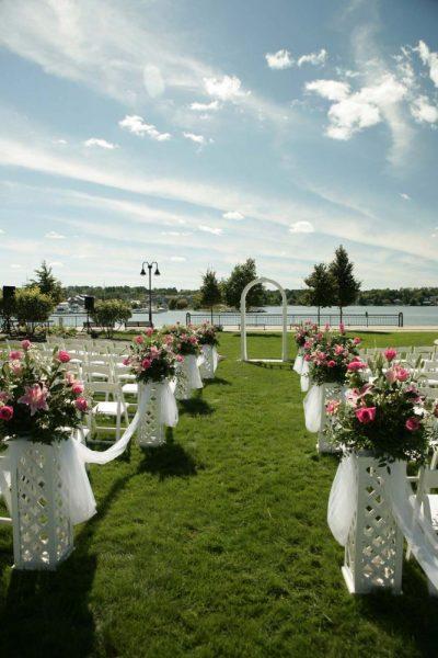 Wedding ceremony set on the grounds of the Stone Harbor Resort in Door County