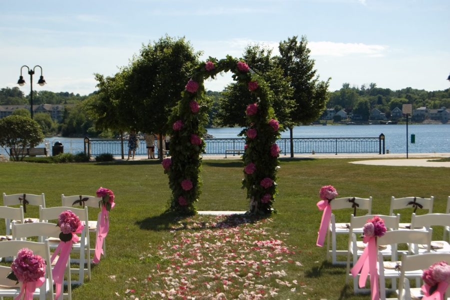 Wedding arch with water view at the Stone Harbor Resort in Door County
