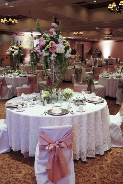 Romantic pink and white tablescape at Stone Harbor Resort wedding reception