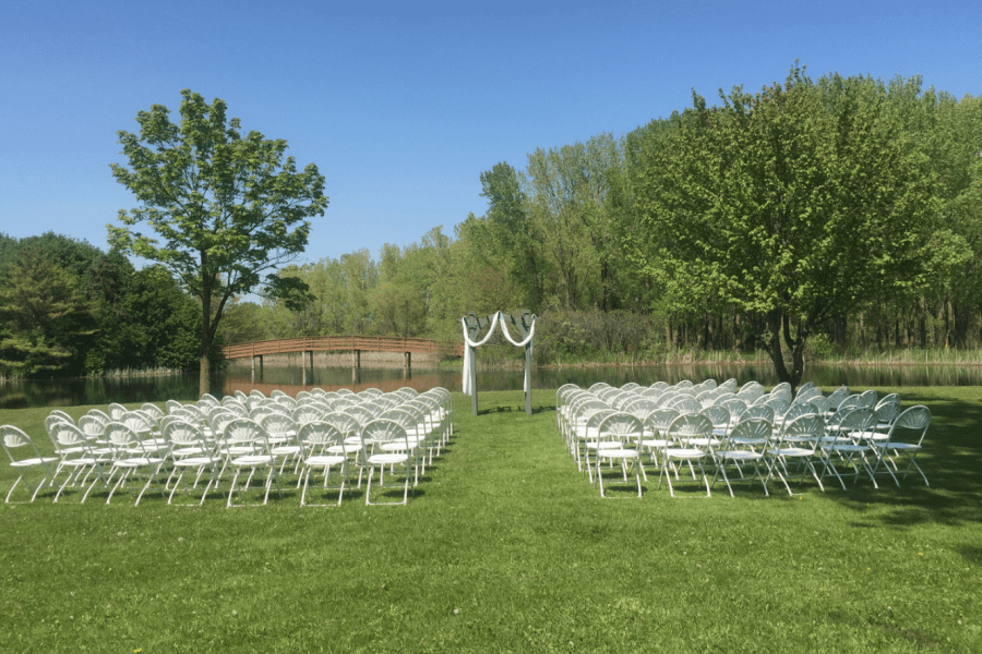 Outdoor wedding ceremony site at the EAA Aviation Center in Oshkosh, WI