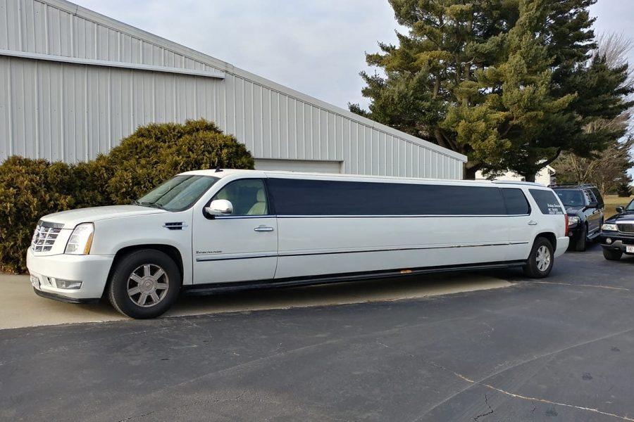 White stretch SUV