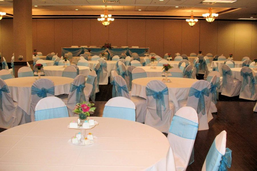 Wedding reception in pale blue and white at The Swan Club | De Pere, WI Wedding Venue