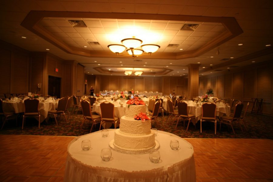 Cake table at wedding   Osthoff Resort in Elkhart Lake, WI