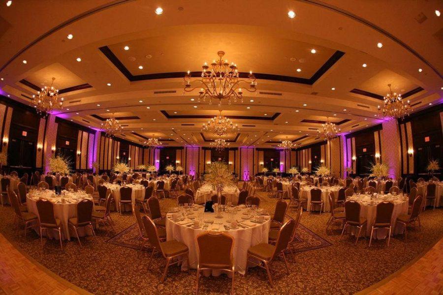 Elegant ballroom at the Osthoff Resort set up for a wedding reception
