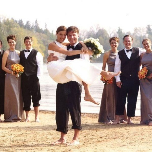 Wedding party on the beach at the Osthoff Resort