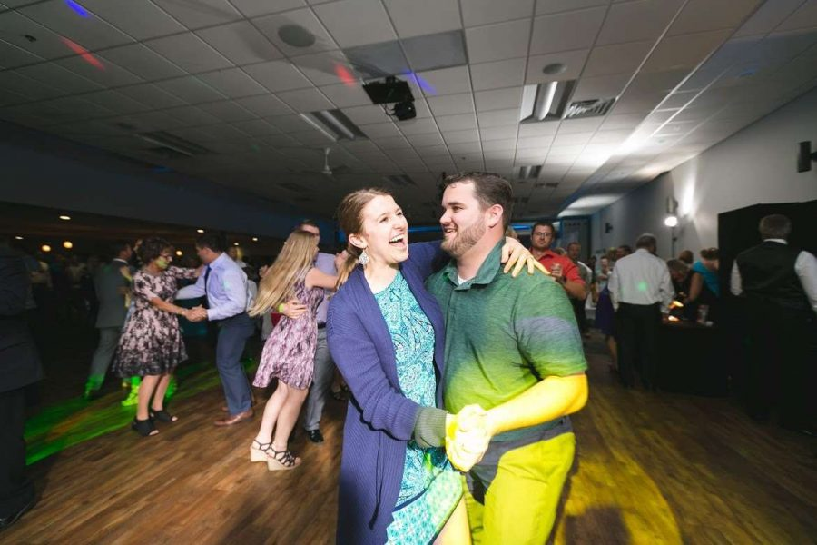 Couple dancing at Stadium View wedding in Green Bay, WI