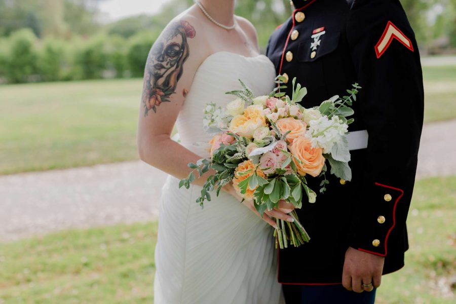 Military bride and groom with bouquet- Floral by 88 Events