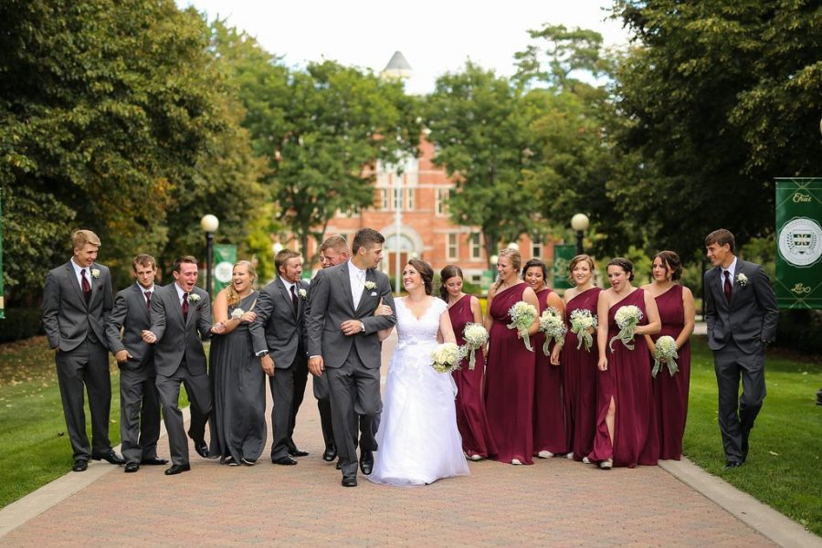 Wedding party St.Norbert College in De Pere, WI