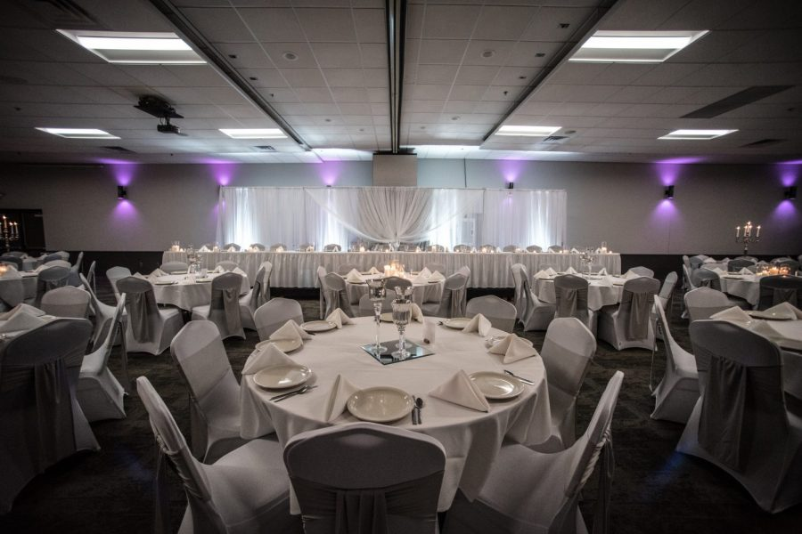 Head Table at a Stadium View Banquet Hall wedding reception