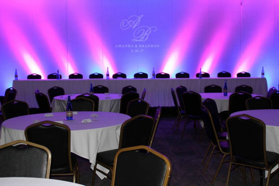 Head table with uplighting at Stadium View wedding