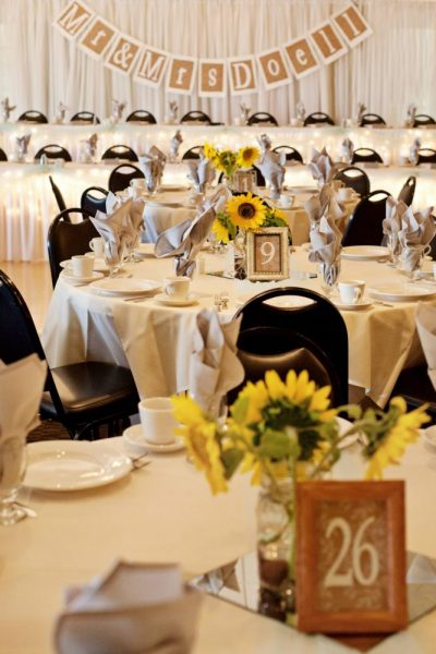 Sunflower wedding decor at a Grand Meridian wedding reception in Appleton, WI