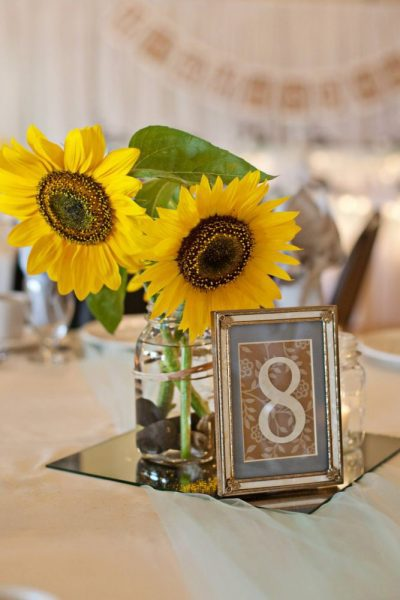 Sunflower centerpiece at a Grand Meridian wedding