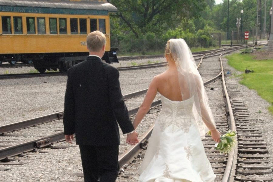 Bride and groom outside the National Railroad Museum in Green Bay