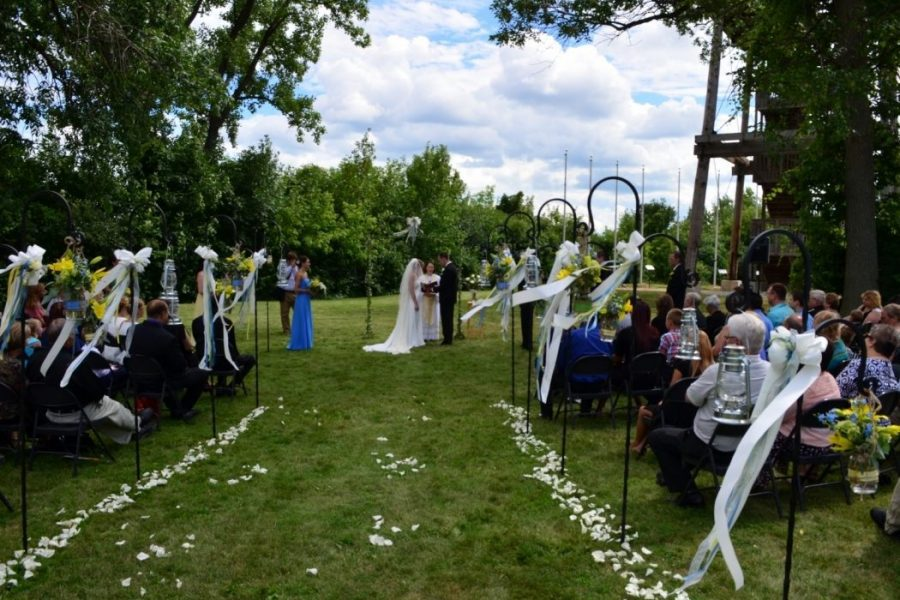Outdoor ceremony at the National Railroad Museum
