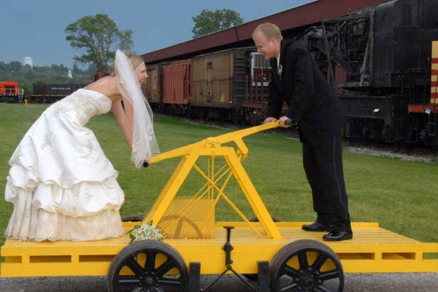 Wedding photo fun at the National Railroad Museum