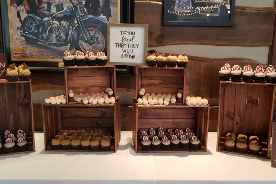 Baseball themed cupcake display by Cupcake Couture