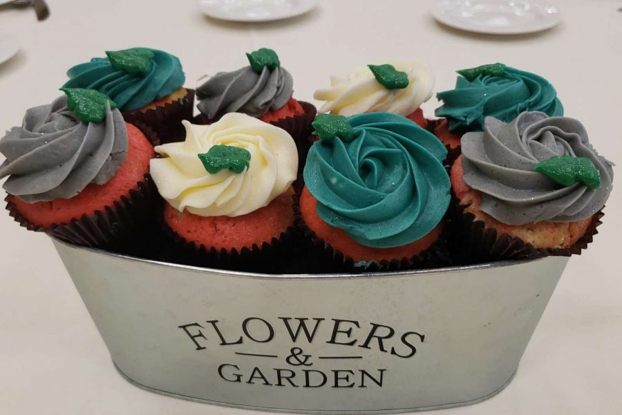 Flower cupcake centerpieces by Cupcake Couture