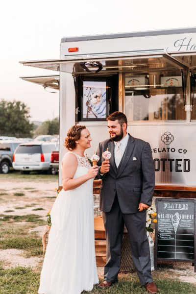 Bride and groom enjoy fresh made Gelato