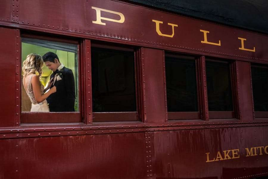 Bride and Groom on train at National Railroad Museum