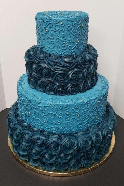 4 tier blue wedding cake- Cupcake Couture of De Pere, WI