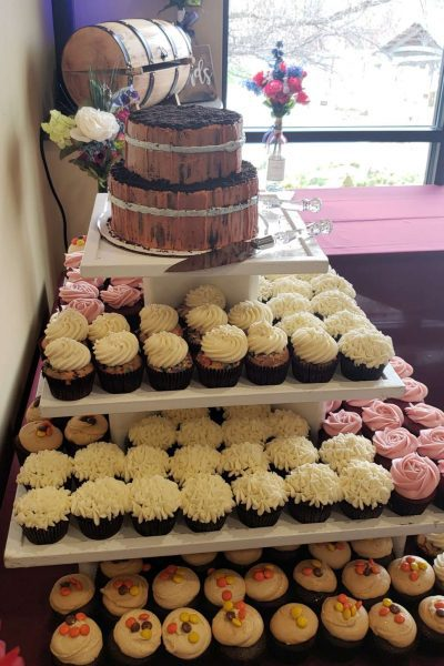 White and pink frosted cupcake tower- Cupcake Couture