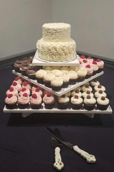 Elegant cupcake and cake display