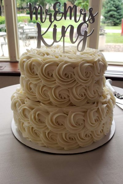 White wedding cake by Cupcake Couture