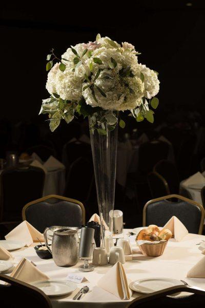 Floral centerpiece at Stadium View wedding