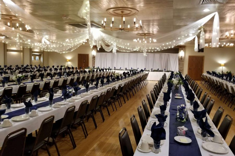 wedding reception with long table set up at Van Abel's