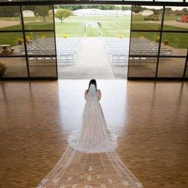 Bride before ceremony at the EAA Aviation Center in Oshkosh