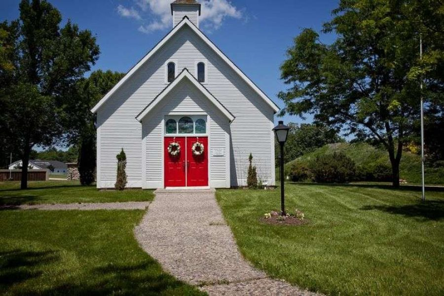 Quaint white chapel on the grounds of the EAA Aviation Center in Oshkosh, WI