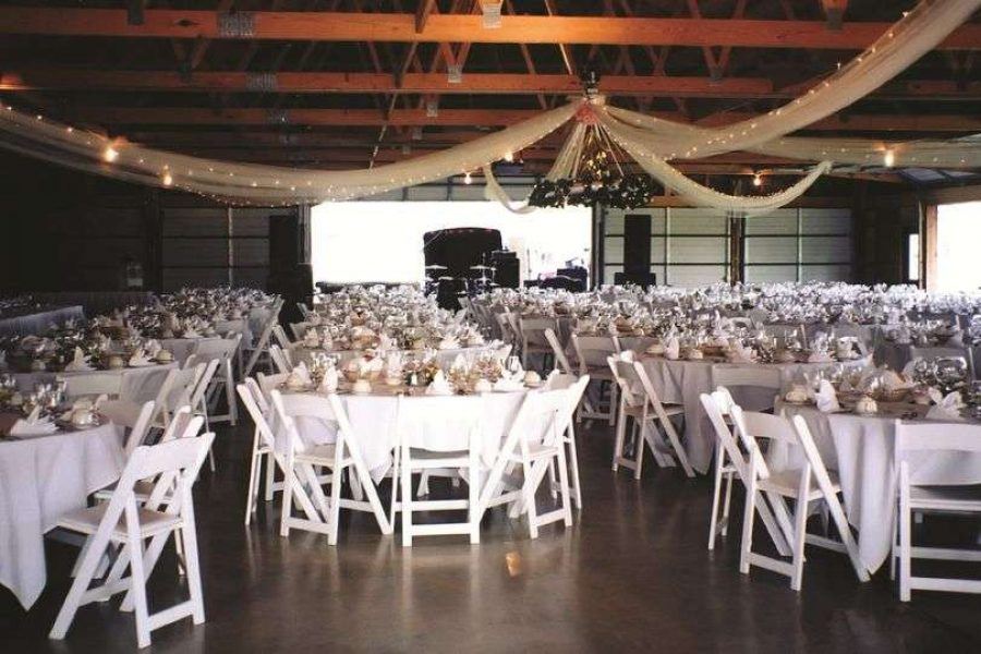 Wedding reception at airplane hanger at the EAA Aviation Center in Oshkosh, WI