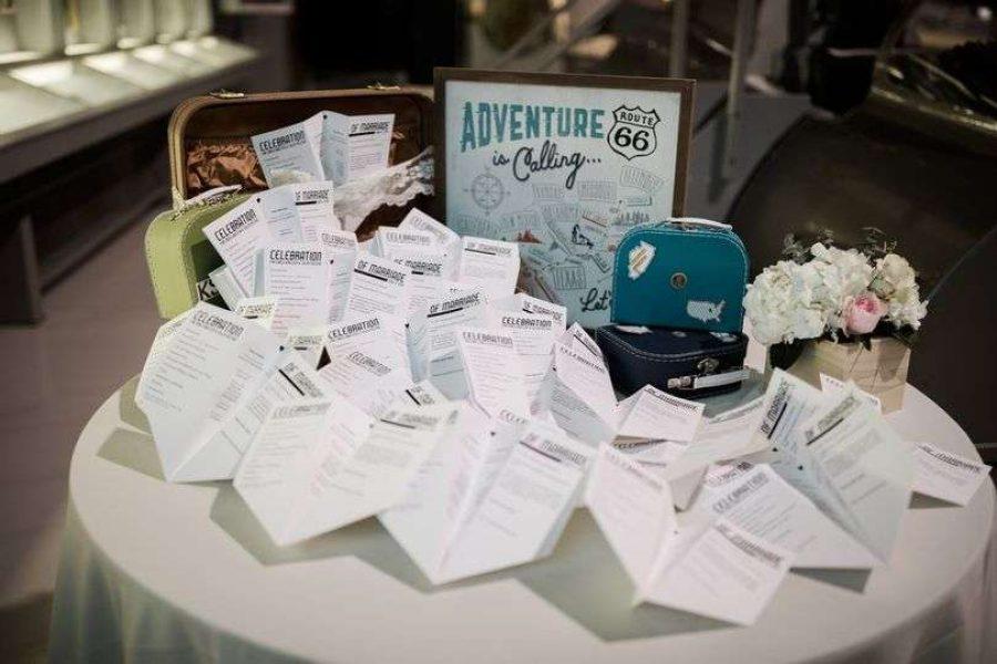 Airplane wedding programs at a EAA Aviation Center wedding