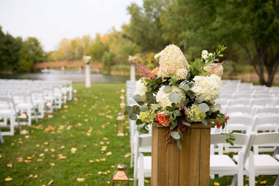 Outdoor wedding ceremony space at the EAA Aviation Center in Oshkosh, WI