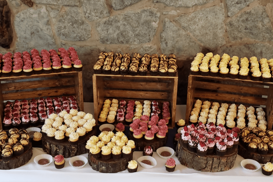 Cupcake display on rustic crates and stumps by Cupcake Couture- Green Bay Wedding Cupcakes