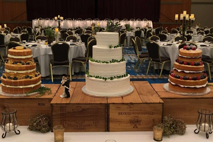 Trio of wedding cakes at Radisson Hotel and Conference Center wedding in Green Bay