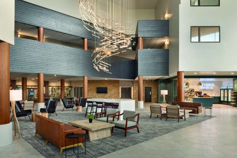 Beautiful freshly renovated lobby at the Radisson Hotel and Conference Center in Green Bay