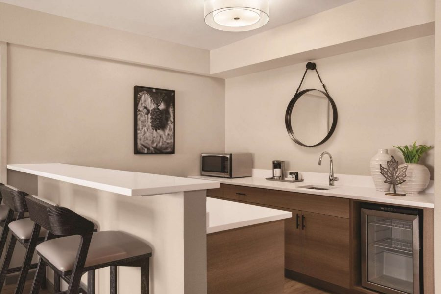 Kitchenette in the VIP suite at the Radisson Hotel and Conference Center in Green Bay