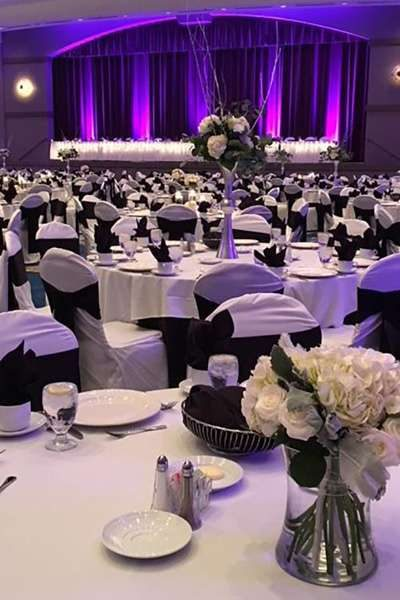 Beautifully decorated wedding reception at the Radisson Hotel & Conference Center