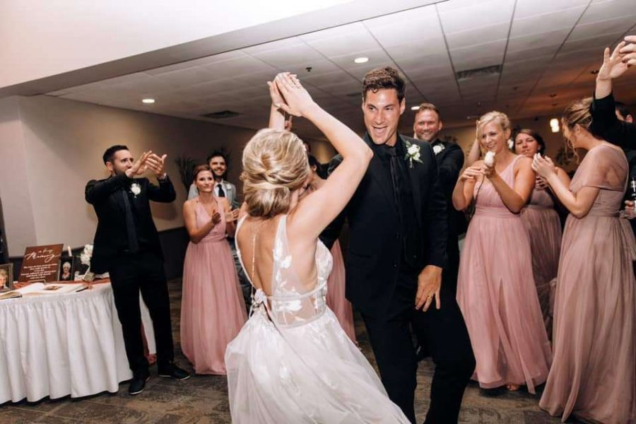 Bride and groom dance the night away at Stadium View