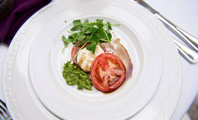 Plated Caprese salad with balsamic