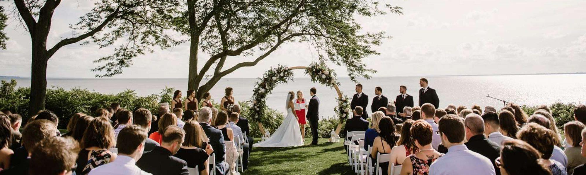 Wedding ceremony on the shores of Lake Winnebago.
