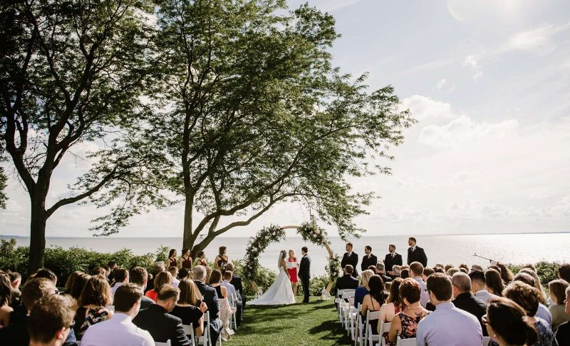 Wedding ceremony on the shores of Lake Winnebago.