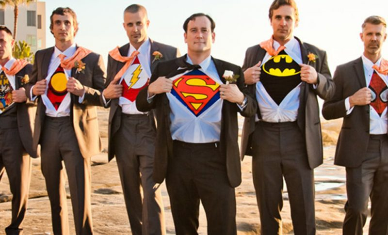 Grooms with superhero t-shirts