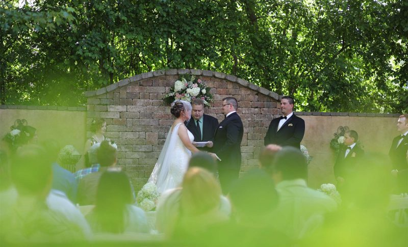 Wedding ceremony at the Country Chapel in Freedom, WI