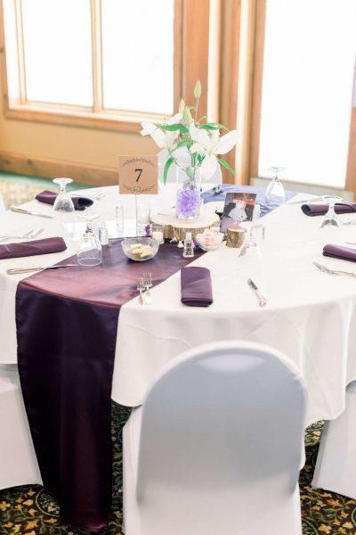 Wedding reception table setting at the Manor at Pinehurst Farms
