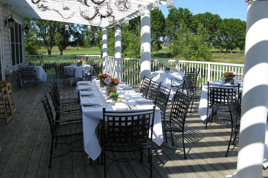 Patio at Manor at Pinehurst Farms set up for wedding.