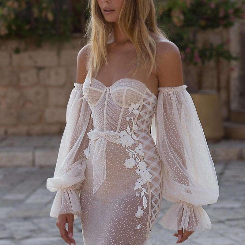 Wedding Gown with Detached Sleeves by Berta